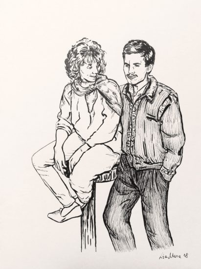 Inktober portrait of parents, by lisa mona