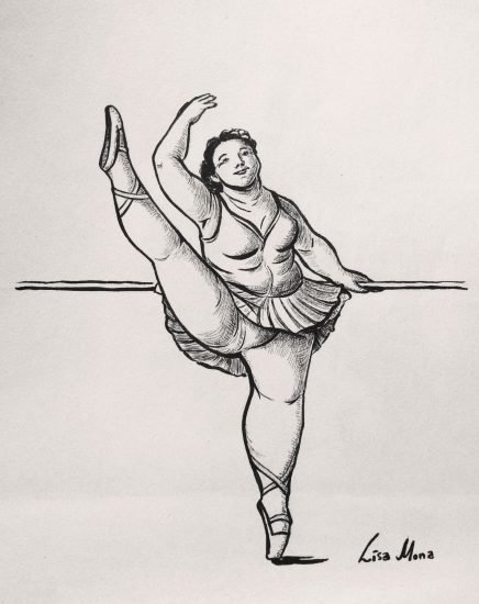 Inktober portrait of fat Ballerina, by lisa mona