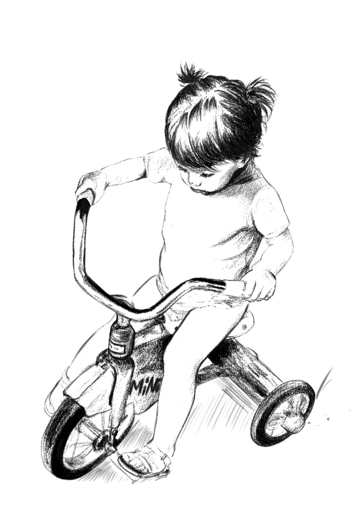 Lisa Mona's background - child on tricycle